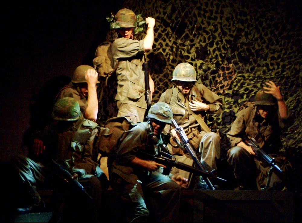 Sean Ryal (Habu), Nick Cimiluca (Little John), Sean Hoagland (Dinky Dau), Matthew Koehler (Scooter), Julian Colletta (Professor), and Jeremy Ordaz (Baby San) in James A. Blackman, III & Hermosa Beach Playhouse's 2008 production of  Tracers , directed by John Drouillard.  Photo by Alysa Brennan.