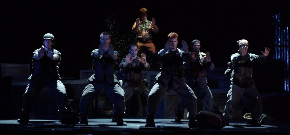 Nick Cimiluca (Little John), Sean Hoagland (Dinky Dau), Jeremy Ordaz (Baby San), Michael Yavnieli (Sgt. Williams), Matthew Koehler (Scooter), Sean Ryal (Habu), and Julian Colletta (Professor) in James A. Blackman, III & Hermosa Beach Playhouse's 2008 production of  Tracers , directed by John Drouillard.  Photo by Alysa Brennan.