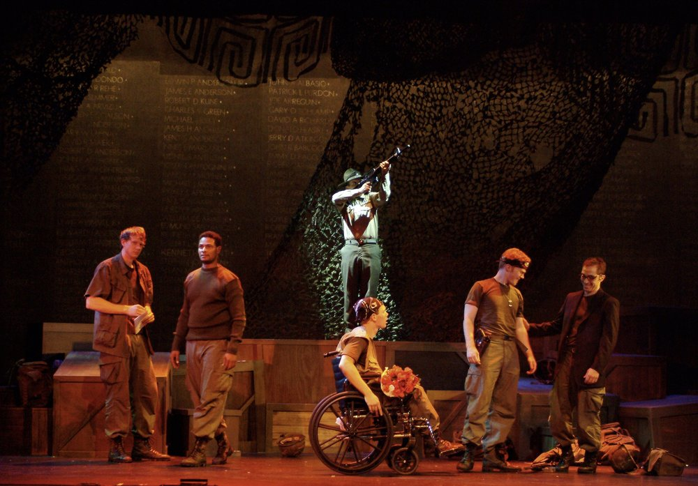 Nick Cimiluca (Little John), Sean Ryal (Habu), Michael Yavnieli (Sgt. Williams), Sean Hoagland (Dinky Dau), Matthew Koehler (Scooter), and Jeremy Ordaz (Baby San) in James A. Blackman, III & Hermosa Beach Playhouse's 2008 production of  Tracers , directed by John Drouillard.  Photo by Alysa Brennan.