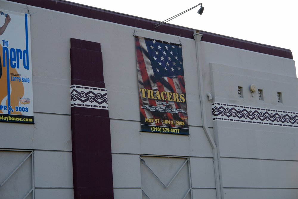 Tracers  banner outside Hermosa Beach Playhouse during run of James A. Blackman, III & Hermosa Beach Playhouse's 2008 production of  Tracers , directed by John Drouillard.  Photo by Natalie Drouillard.