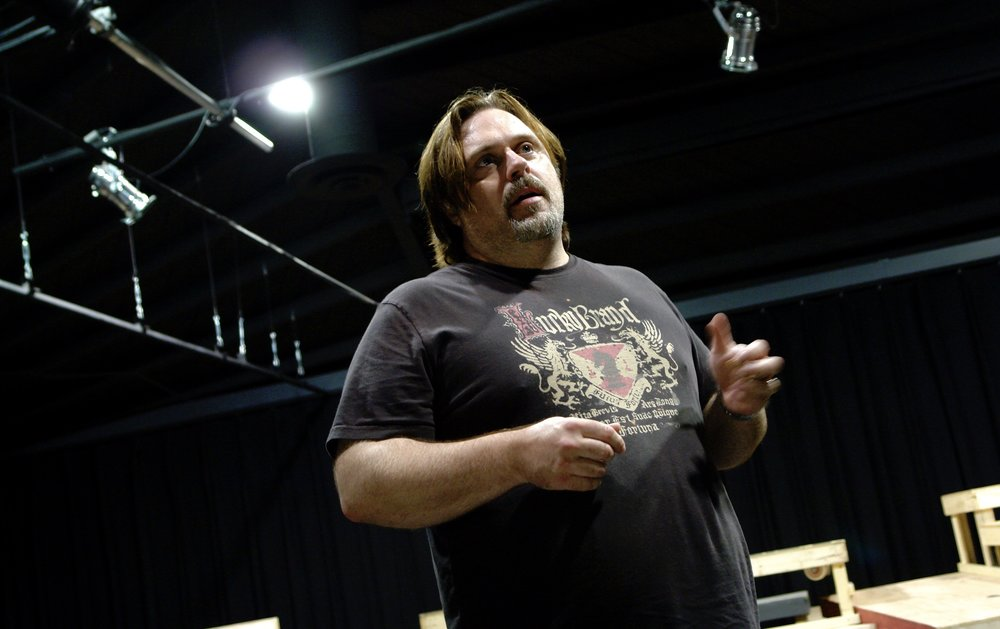 Director John Drouillard in the rehearsal room on James A. Blackman, III & Hermosa Beach Playhouse's 2008 production of  Tracers , directed by Drouillard.  Photo by Natalie Drouillard.