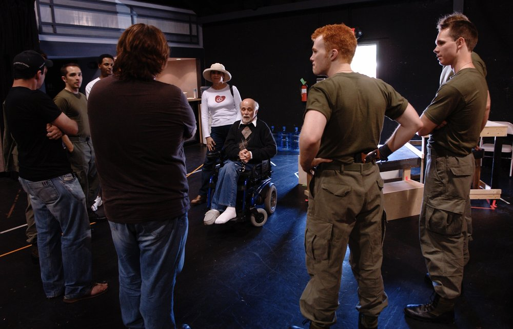 Author Ron Kovic ( Born on the Fourth of July ) visits a rehearsal during James A. Blackman, III & Hermosa Beach Playhouse's 2008 production of  Tracers , directed by John Drouillard.  Photo by Natalie Drouillard.