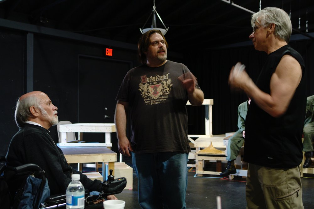 Author Ron Kovic ( Born on the Fourth of July ), director John Drouillard, and  Tracers  creator John DiFusco during a rehearsal for James A. Blackman, III & Hermosa Beach Playhouse's 2008 production of  Tracers , directed by Drouillard.  Photo by Natalie Drouillard.