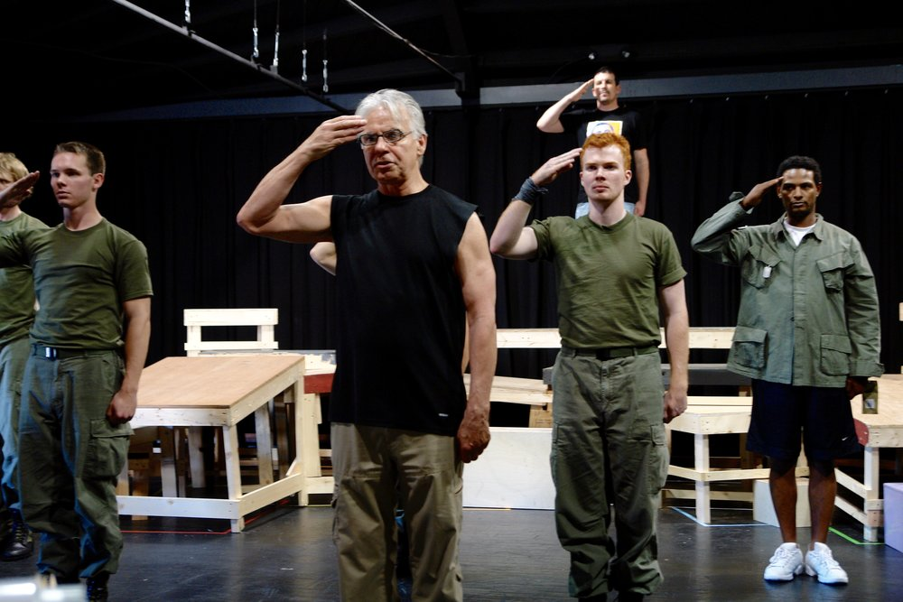 "Tracers  creator John DiFusco teaches ""The Ghost Dance"" to the cast of James A. Blackman, III & Hermosa Beach Playhouse's 2008 production of  Tracers , directed by John Drouillard.  Photo by Natalie Drouillard."