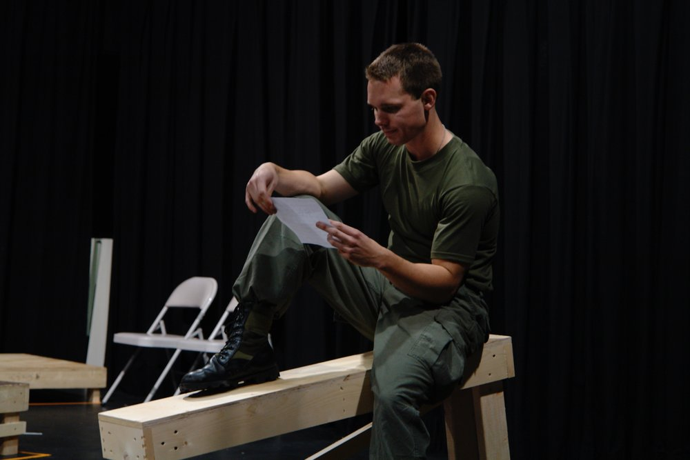 Actor Sean Hoagland rehearses a scene for James A. Blackman, III & Hermosa Beach Playhouse's 2008 production of  Tracers , directed by John Drouillard.  Photo by Natalie Drouillard.