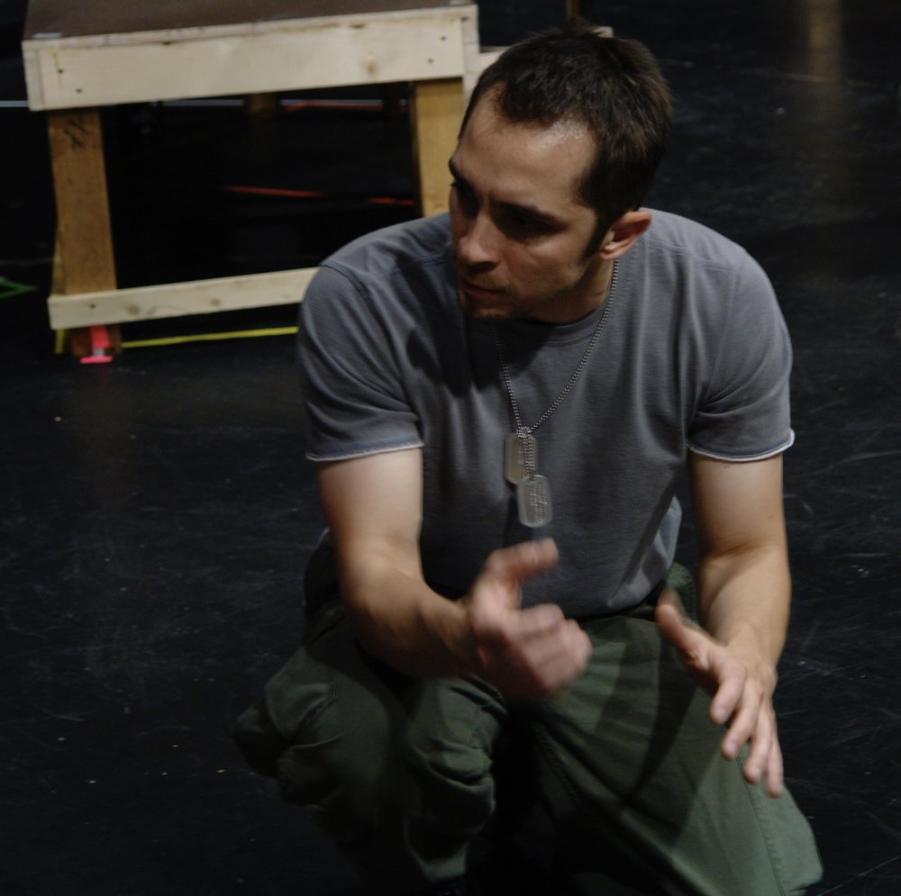 Actor Jeremy Ordaz rehearses a scene for James A. Blackman, III & Hermosa Beach Playhouse's 2008 production of  Tracers , directed by John Drouillard.  Photo by Natalie Drouillard.