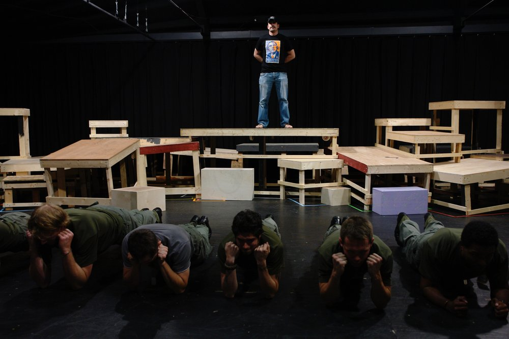 Actors Michael Yavnieli, Matthew Koehler, Nick Cimiluca, Jeremy Ordaz, Julian Colletta, Sean Hoagland, and Sean Ryal rehearse a scene for James A. Blackman, III & Hermosa Beach Playhouse's 2008 production of  Tracers , directed by John Drouillard.  Photo by Natalie Drouillard.