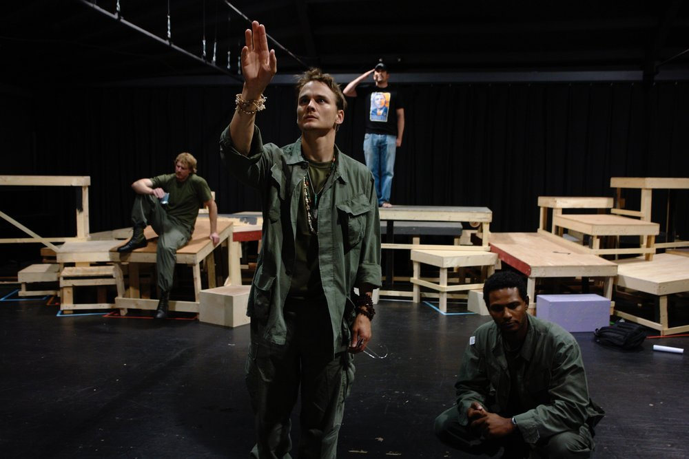 Actors Nick Cimiluca, Travis Hammer, Michael Yavnieli, and Sean Ryal rehearse a scene for James A. Blackman, III & Hermosa Beach Playhouse's 2008 production of  Tracers , directed by John Drouillard.  Photo by Natalie Drouillard.