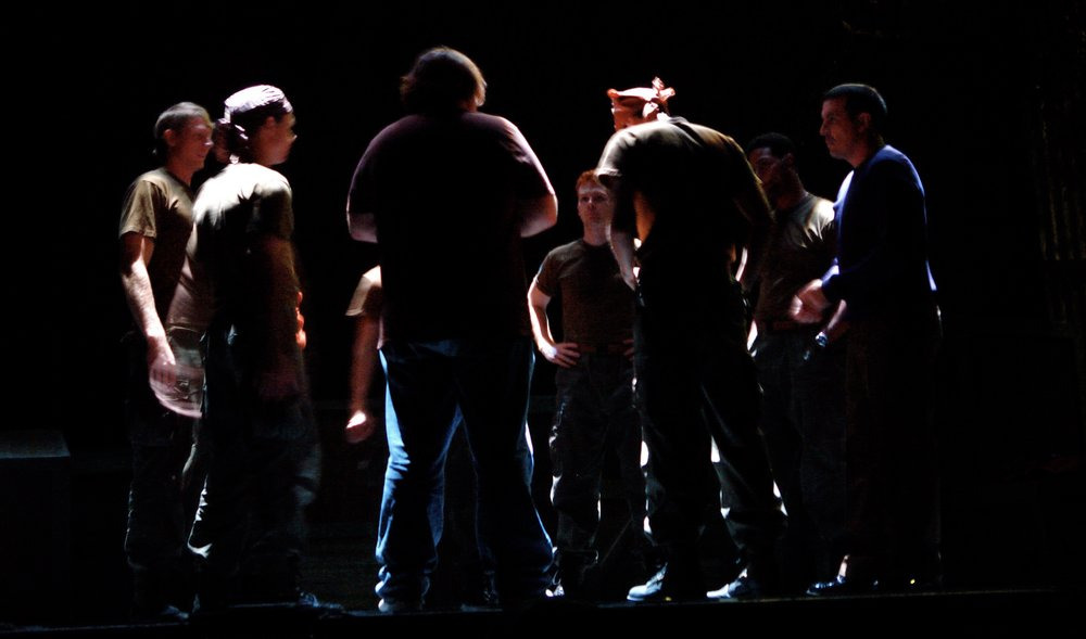 Director John Drouillard has a pre-show discussion on stage with the cast of James A. Blackman, III & Hermosa Beach Playhouse's 2008 production of  Tracers , directed by Drouillard.  Photo by Natalie Drouillard.