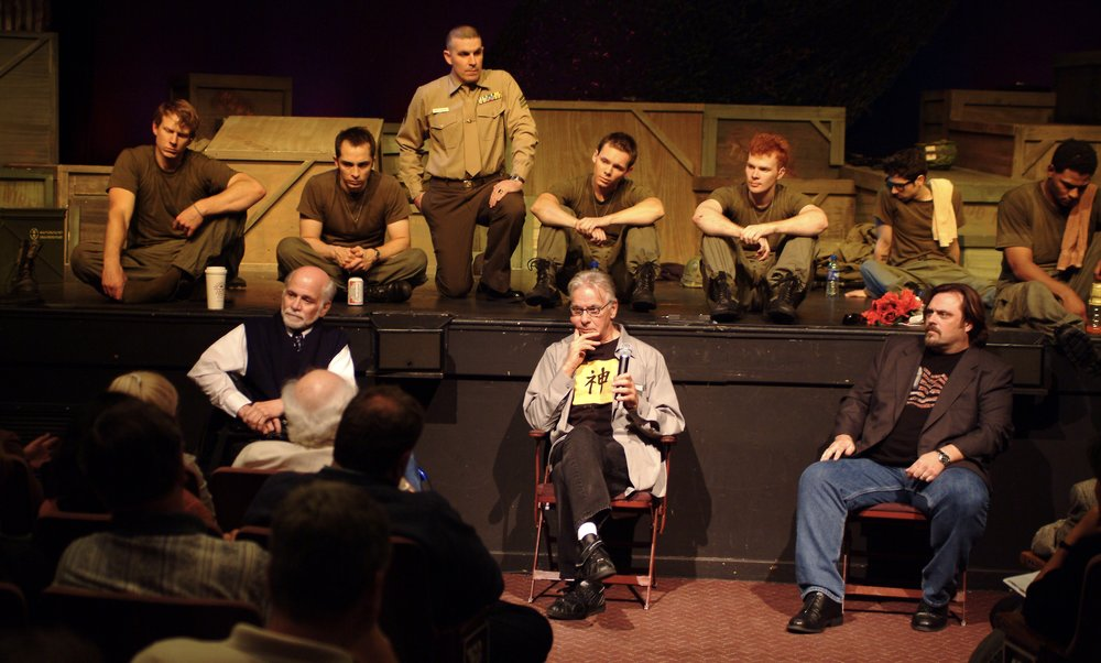 Author Ron Kovic ( Born on the Fourth of July ),  Tracers  creator John DiFusco, director John Drouillard, and the cast of James A. Blackman, III & Hermosa Beach Playhouse's 2008 production of  Tracers  during the opening night post-show panel discussion.  Photo by Alysa Brennan.