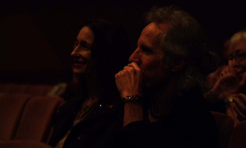 Legendary drummer of The Doors and longtime member of the  Tracers  family, John Densmore, watches the opening night post-show panel discussion for James A. Blackman, III & Hermosa Beach Playhouse's 2008 production of  Tracers , directed by John Drouillard.  Photo by Alysa Brennan.