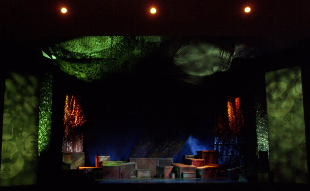 The tremendous set design by Christopher Beyries for James A. Blackman, III & Hermosa Beach Playhouse's 2008 production of  Tracers , directed by John Drouillard.  Photo by John Drouillard.