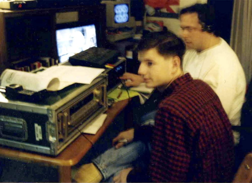 Sound designers Christopher Beyries and John Drouillard record sound cues for Draw the Sneck Productions' 1997 production of  Tracers , directed by John Drouillard.  Photo by Natalie Drouillard.