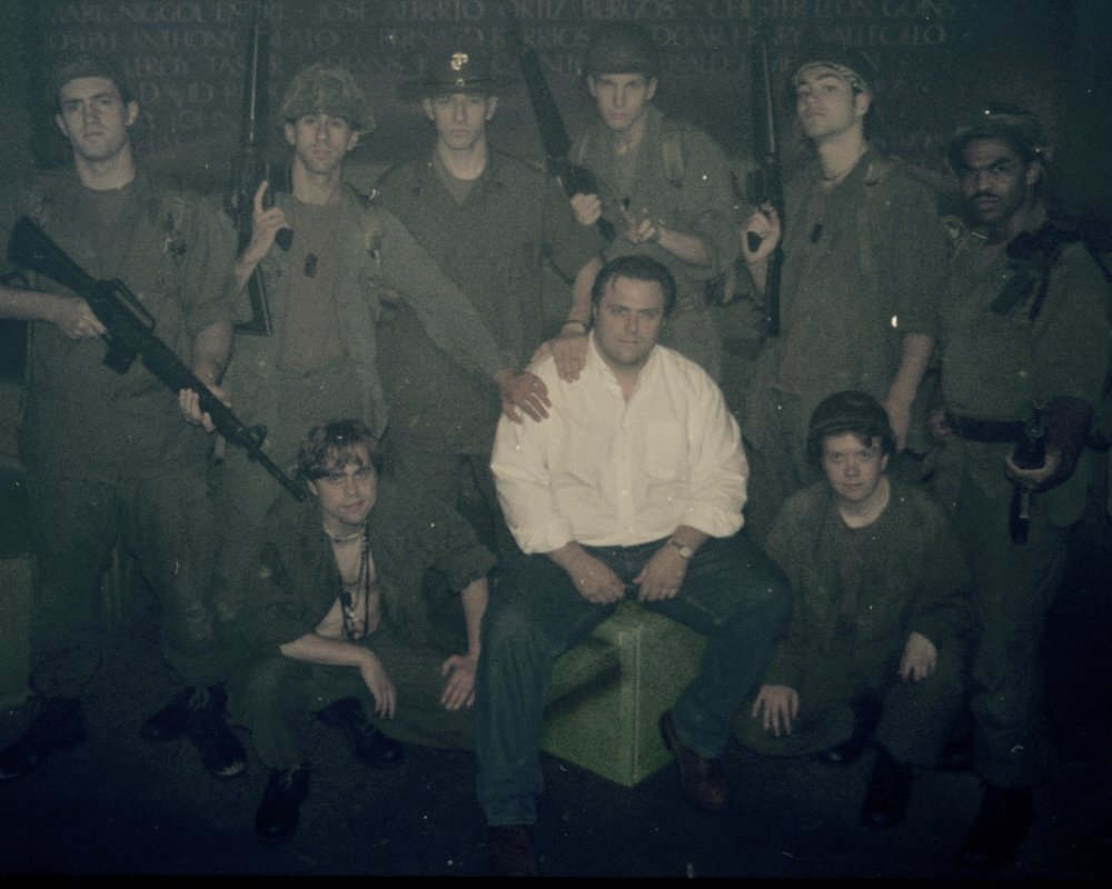 Director John Drouillard and the cast of Draw the Sneck Productions' 1997 production of  Tracers , Scott Donnelly, Craig Bilsky, Andy Hungerford, Peter Winfield, William Vogt, Chris Solari, Scott Freeburg, and Gene Fereaud.  Photo by Natalie Drouillard.