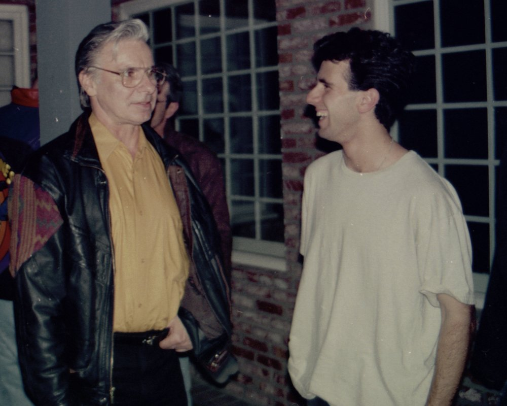 Tracers  creator John DiFusco talks with actor Craig Bilsky closing night of Draw the Sneck Productions' 1997 production of  Tracers , directed by John Drouillard.  Photo by Natalie Drouillard.
