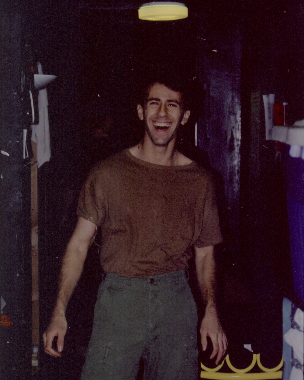 Actor Craig Bilsky backstage closing night of Draw the Sneck Productions' 1997 production of  Tracers , directed by John Drouillard.  Photo by John Drouillard.