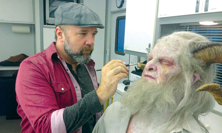 Barney Burman makes up Derek Mears as Krampus on the set of  Grimm  | All photos by Scott Green or Barney Burman, 2016 NBC Universal Media, LLC
