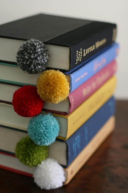 Pom Pom Bookmarks   Pom Pom Galore  via  designmom