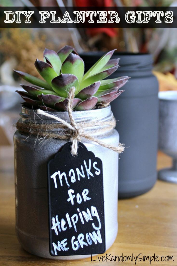 "Succulent Mason Jar   ""Thanks for Helping Me Grow"" Tags for Everyoneeee.  Via  l  iverandomlysimple"