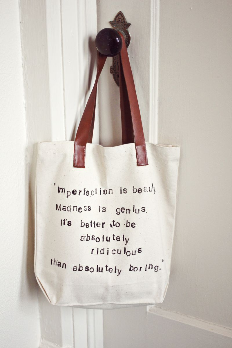 Quote Tote Bag   For that word obsessed special someone. Basically, all of us!  via  a  beautifulmess