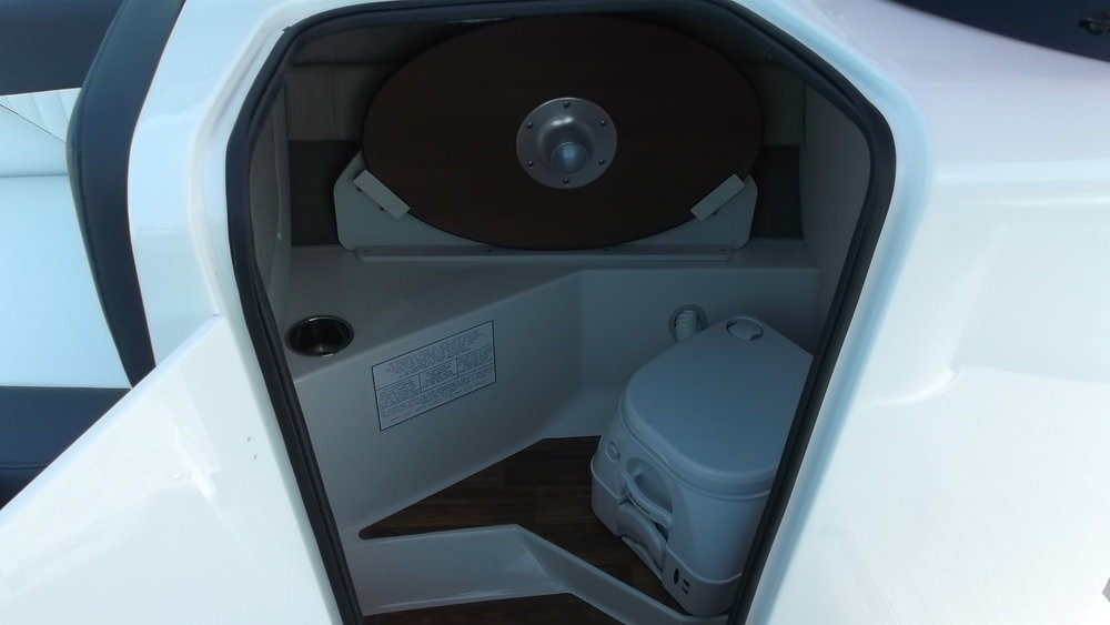 Built in porto-potty head with pump out under the console/table storage
