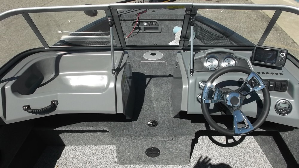 On-board charger, front console storage, bow live-well, center rod storage...
