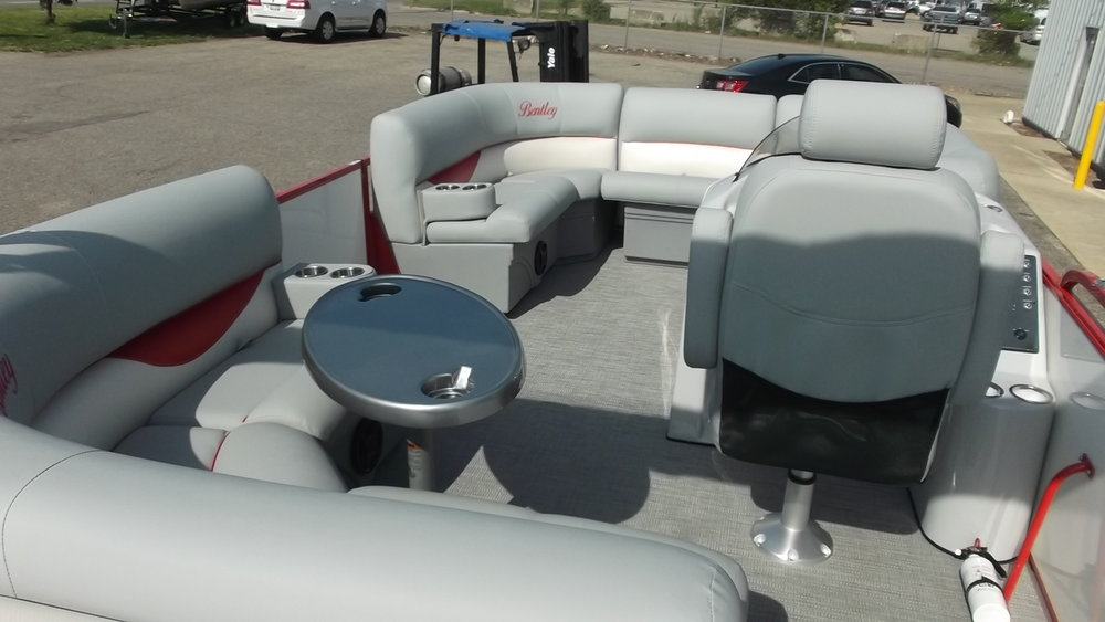 SE Gray interior with removable table, removable gate couch (in center of bow) and high back captain's chair