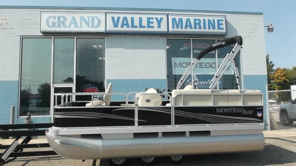 2017 Montego Bay 8516F Fishing Pontoon powered by a Mercury 25hp 4 stroke outboard