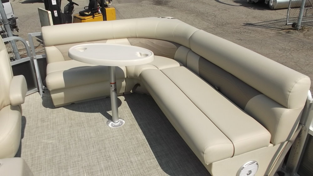 Rear L-shape seat with removable table