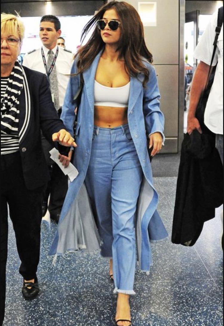 Selena Gomez in denim on denim look