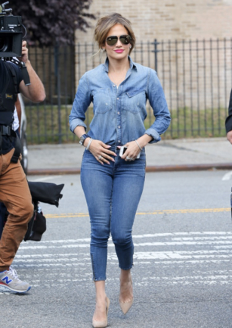 Jennifer Lopez in denim on denim look