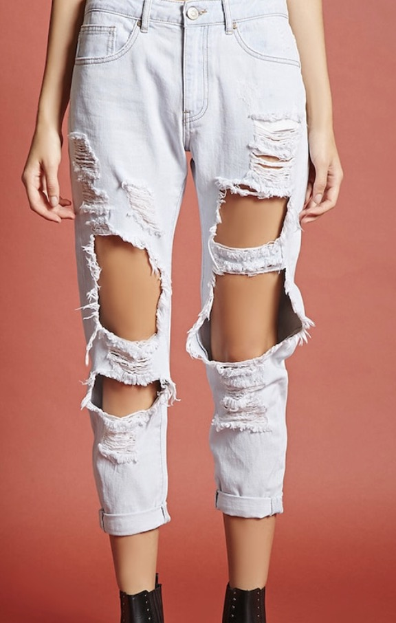 Forever 21 exposed knee jeans