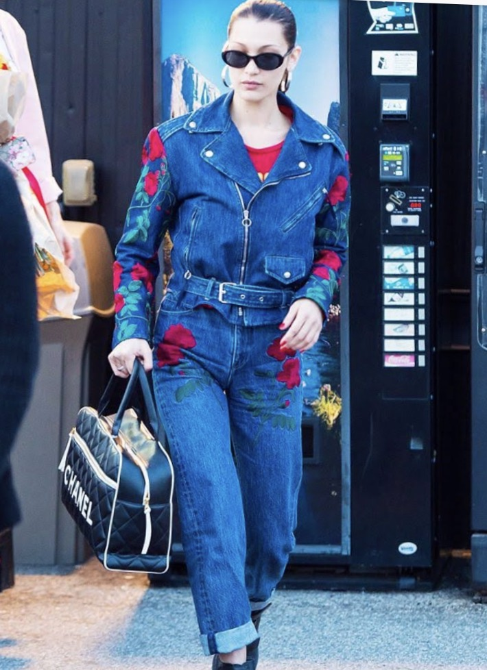Bella hadid in floral embroidered jeans