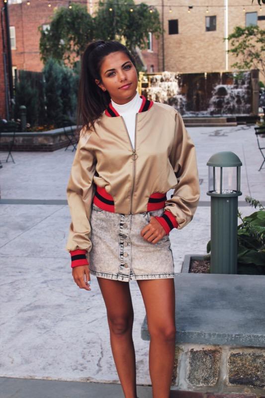 similar bomber jacket /  shirt /  skirt