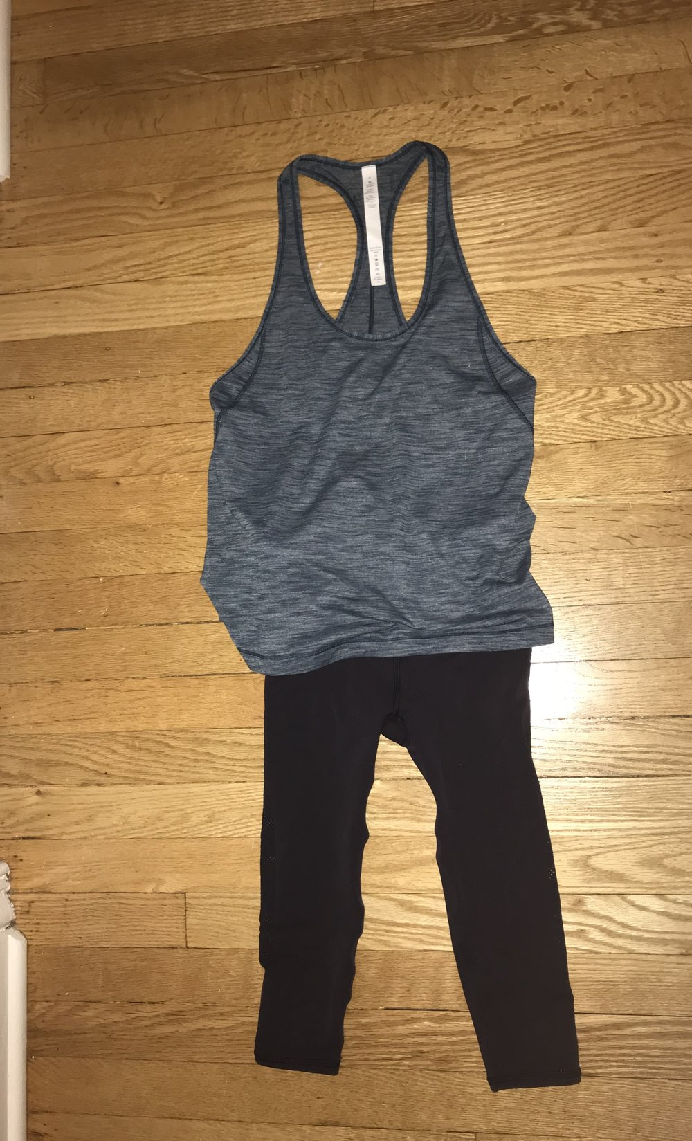 These yoga pants and tank top are not a set, but they match just like a set! It is a great workout outfit and a great one to wear to school too!