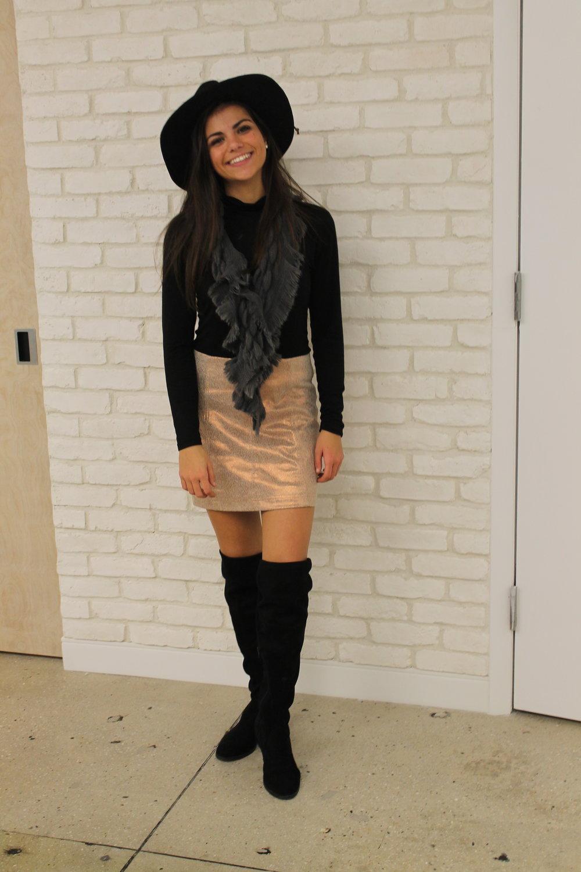 hat / shirt // skirt / boots