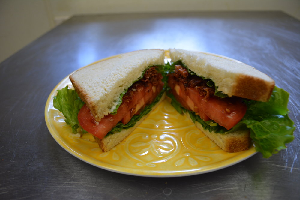 B.L.T. - Fresh green leafy lettuce, sliced tomato, grilled bacon and mayonnaise