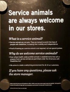 1 - 1 - 20150711_110515 service animals are always welcome in our stores