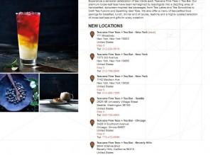Untitled list of Teavana Tea Bar locations