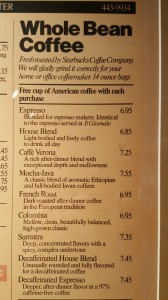 1 - 1 - 20160213_094602 Il Giornale menu hanging inside the Roastery