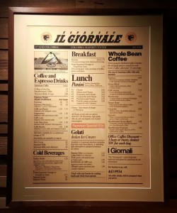 1 - 1 - 20160213_094616 original il giornale menu hanging inside the Roastery