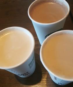 1 - 1 - 20160521_164322 the 3 mocha drinks side by side - starbucks milk chocolate mocha test