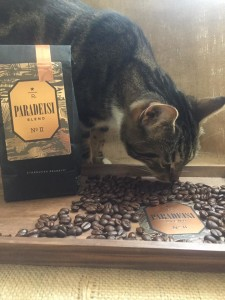 Paradeisi Blend and Roscoe - eating the coffee beans