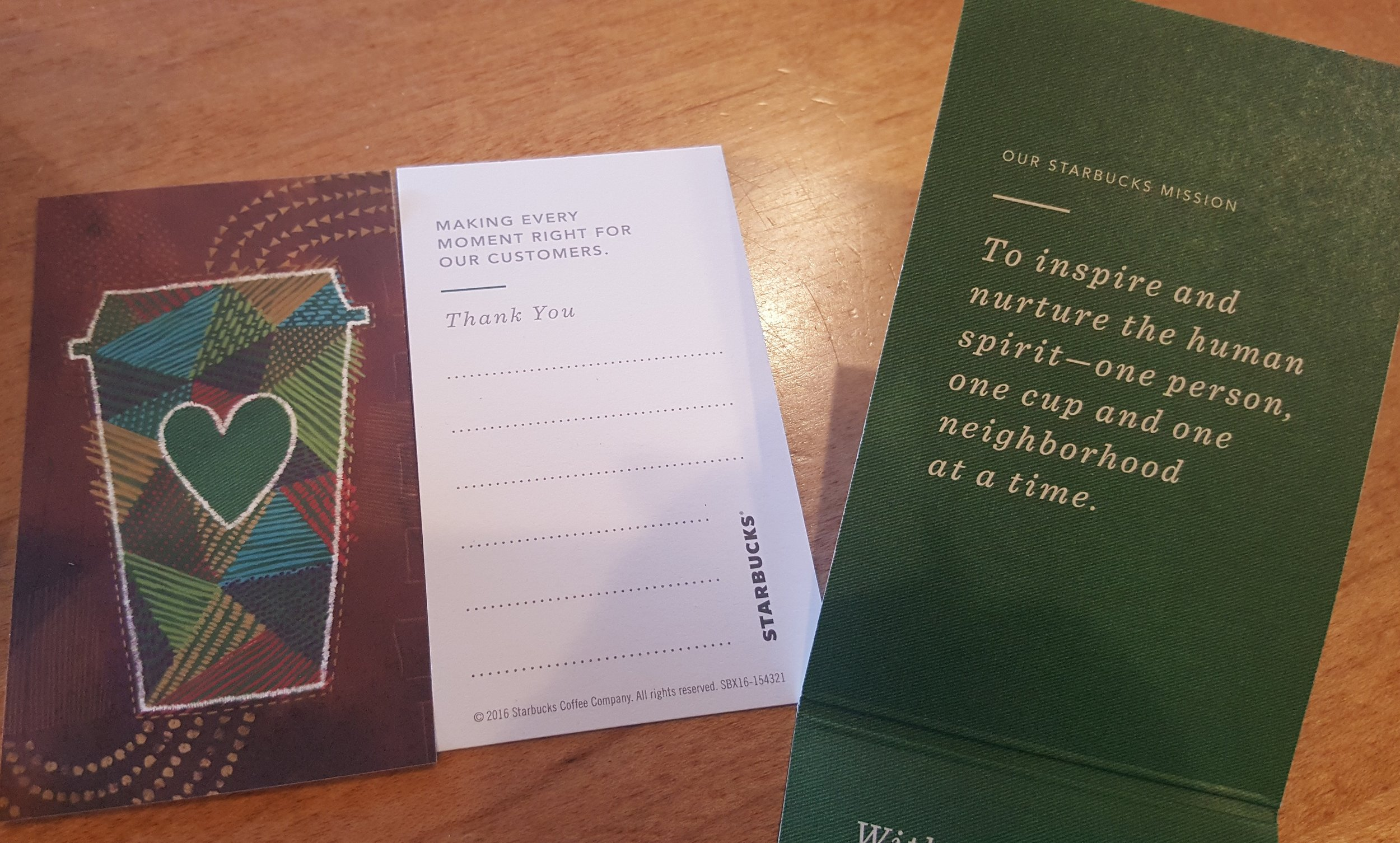 20160812_155118 making every moment right starbucks green apron card