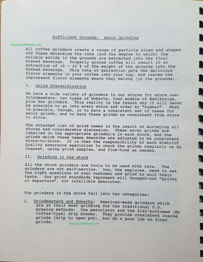 New Doc 167_1 - 1989 Starbucks training book page 1 of grinding