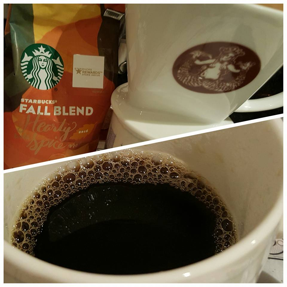pour over of Fall Blend at Melody's house 5 Sept 2016