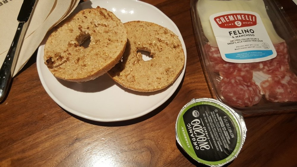 20161016_145553 salami and cheese multi grain bagel avocado spread
