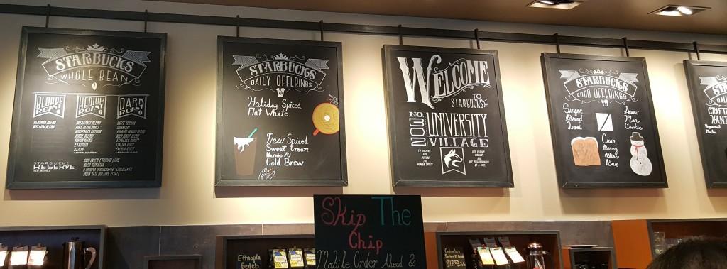 1 - 1 - 20161126_131922 Starbucks U Village big store - chalkboard signs