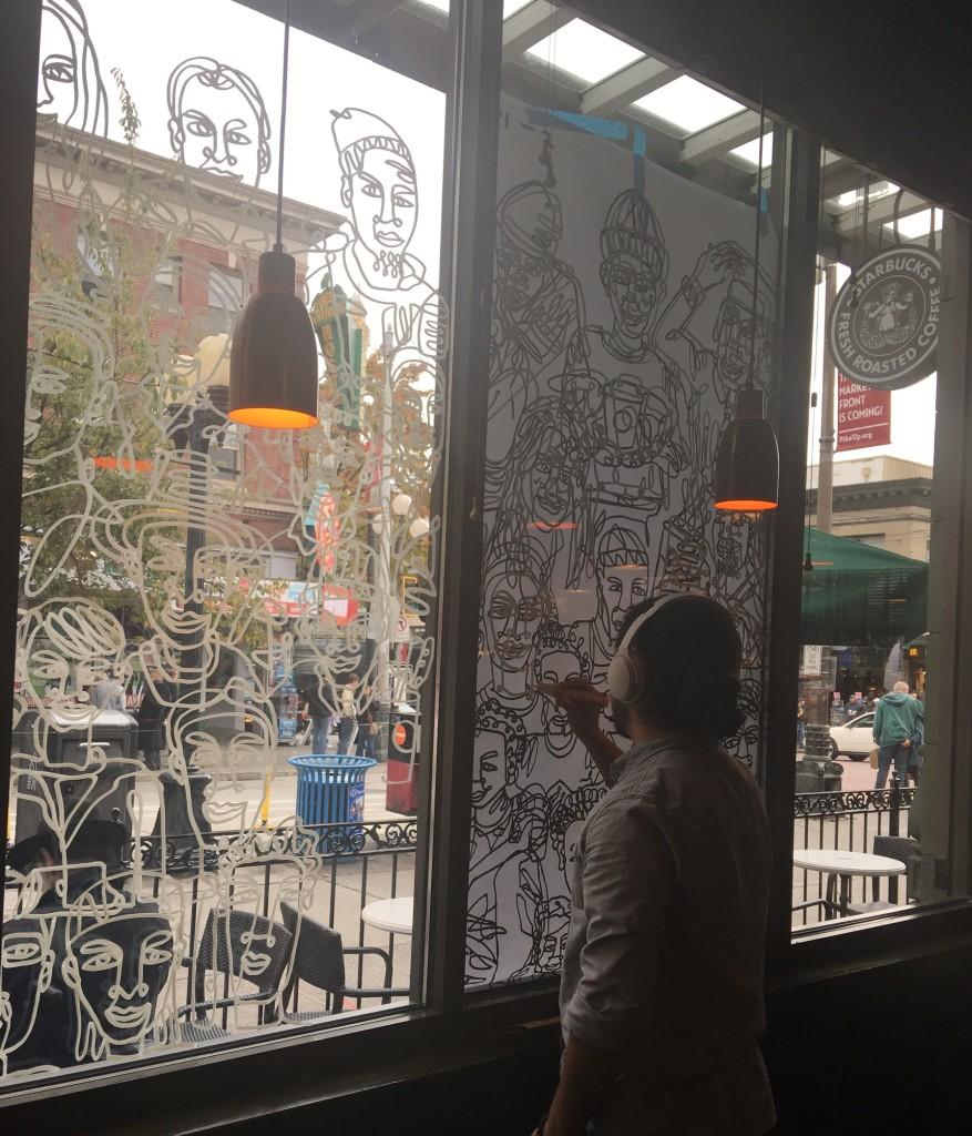 1 - 1 - IMG_2267 Shogo Ota at work at 1st and Pike Starbucks