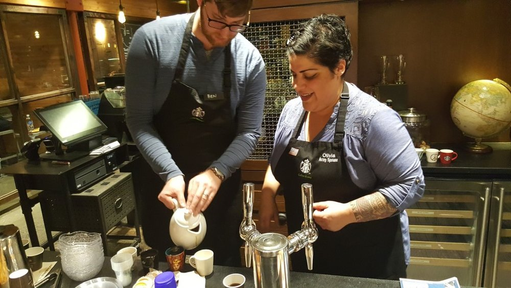 20161017_184250 Ben and Oliva at East Olive Way Spanish Coffee can Leche with Via
